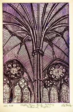 Jerry  Di Falco: 'chapter house salisbury', 2017 Etching, Atmosphere. Artist Description: Title is Chapter House at Salisbury Cathedral. SIZE GIVEN BELOW IS FRAMED SIZE. This intaglio etching is the first of four editions each edition is limited to ONLY FIVE etchings per edition. This original hand- pulled print by the artist was executed in French, colored oil- based etching ...
