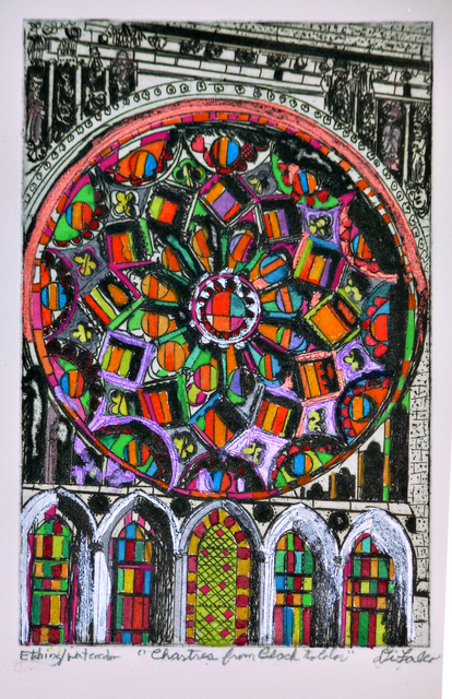 Jerry  Di Falco  'Chartres From White To Color', created in 2020, Original Digital Art.