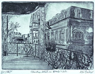 Jerry  Di Falco: 'chartres st in black and white', 2017 Intaglio, Landmarks. Artist Description: The full title is CHARTRES STREET IN BLACK AND WHITE.  This intaglio and aquatint etching by Gerard Jerry DiFalco is adapted from a photograph by Howard Coleman, born in 1883 and died in 1969.  The Title of Coleman s photograph, which also pinpoints the exact location in New ...