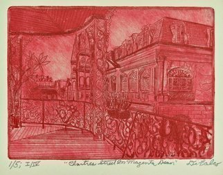 Jerry  Di Falco: 'chartres st in magenta dream', 2017 Etching, Cityscape. This intaglio and aquatint etching by Gerard Jerry Di Falco is entitled, aEURoeChartres Street in Magenta DreamaEUR.  It was adapted from a photograph by Howard Coleman, born in 1883 and died in 1969, and entitled, aEURoeChartres Street from the Lower Pontalba Building gallery to Victors CafA(c), corner of Toulouse StreetaEUR.  ...