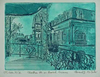 Jerry  Di Falco: 'chartres st in peacock dreams', 2017 Etching, Cityscape. Title is Chartres Street in Peacock Dreams.   This intaglio and aquatint etching by Gerard Jerry Di Falco is entitled, Chartres Street in Peacock Dreams.   Moreover, it is adapted from a photograph by Howard Coleman, who was born in 1883 and died in 1969.   Coleman entitled his photo, Chartres Street from ...