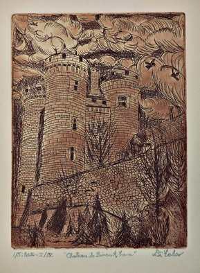 Jerry  Di Falco: 'chateau de lioncourt', 2017 Etching, Architecture. This etching, entitled Chateau de Lioncourt in France, is based on an architectural work from the south of France in the Upper Auvergne region.  However, the title refers to a fictitious castle in Anne RiceaEURtms, Interview with a Vampire, series.  This building was photographed by the artist in 1987, ...