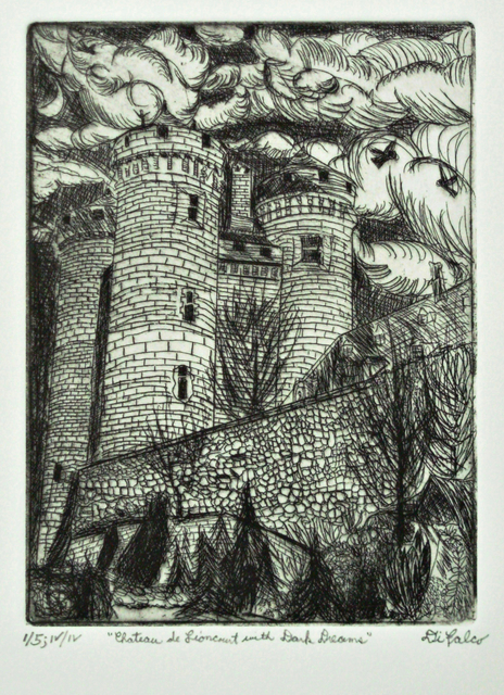 Jerry  Di Falco: chateau lioncourt dark dreams, 2017 Etching Open Edition