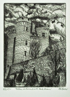 Jerry  Di Falco: 'chateau lioncourt dark dreams', 2017 Etching, Architecture. This etching, entitled Chateau de Lioncourt in France, is based on an architectural work from the south of France in the Upper Auvergne region.  However, the title refers to a fictitious castle in Anne RiceaEURtms, Interview with a Vampire, series.  This building was photographed by the artist in 1987, ...