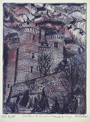 Jerry  Di Falco: 'chateau lioncourt violet wings', 2017 Intaglio, Scenic. Artist Description: This etching, entitled Chateau de Lioncourt in France, is based on an architectural work from the south of France in the Upper Auvergne region.  However, the title refers to a fictitious castle in Anne RiceaEURtms, Interview with a Vampire, series.  This building was photographed by the artist ...