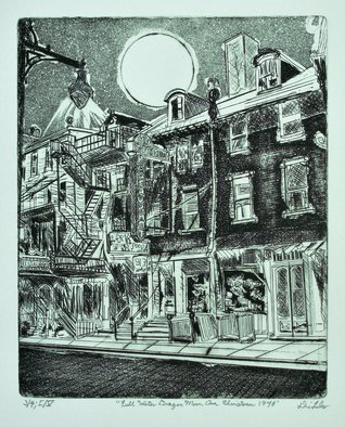 Jerry  Di Falco: 'chinatown 1948', 2019 Etching, Urban. Actual title for this etching isFULL WATER DRAGON MOON OVER CHINATOWN, 1948 .This etching employs the studio techniques of aquatint, intaglio, and drypoint.  The zinc etching plate used measured ten inches high by eight inches wide, which is consequently also the image size.  French, oil base inkCharbonnel brand from Pariswas ...