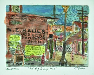 Jerry  Di Falco: 'da big easy', 2020 Mixed Media, Cityscape. This combined work of printmaking and painting employed one a Di Falco Artist Proof from his metal plate editions.  As a result of the 2020 Pandemic, Di Falco was not allowed into his etching studio at Fleisher Art School in Philadelphia, Pennsylvania, from March to October.  Consequently, he began to ...