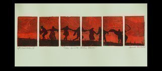 Jerry  Di Falco: 'dance from the seventh seal', 2018 Etching, Dance. PLEASE NOTE THAT THIS IS SOLD UNFRAMED AND WITHOUT A MAT.  This etching used six zinc plates to produce one image.  I wanted to give the effect of a cinematic film being broken up into individual still scenes.  The etching techinques of intaglio, aquatint, drypoint, and Chine colle were employed.  ...