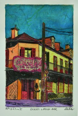 Jerry  Di Falco: 'dixies ladies bar', 2020 Mixed Media, Cityscape. The artist lost access to his etching studio because of the Viral Outbreaks of 2020.  As a result, he took one of his art proofs of an earlier etching and enhanced it with water base media.  He created this one of a kind works at a picnic table in a ...