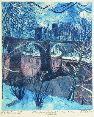 Jerry  Di Falco: 'durham and rose waters', 2017 Etching, Atmosphere. Artist Description: The full title is DURHAM, ENGLAND AND THE ROSE WATERS.  The location of this winter scene is Durham, England it features Durham Cathedral in the distance with snow, water, clouds, bridges, and trees.  The etching was inspired by an albumin print from 1865, which was gifted to Cornell ...