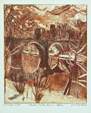 Jerry  Di Falco: 'durham in sepia', 2017 Etching, Landscape. This original etching by printmaker Gerard Jerry Di Falco shows the location of a winter landscape in Durham, England, and the scene features Durham Cathedral in the distance with snow, a stream, clouds, bridges, and trees.  The etching was inspired by an albumin print from 1865, which was gifted to ...