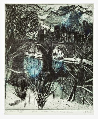 Jerry  Di Falco: 'durham winter scene', 2017 Etching, Landscape. Full Title is DURHAM WINTER SCENE IN TONAL DANCE.  This original etching by printmaker Gerard Jerry DiFalco shows the location of a winter landscape in Durham, England.  The scene features Durham Cathedral in the distance with a foreground of snow, a stream, clouds, bridges, and trees.  The etching was inspired ...