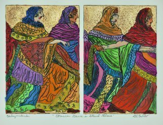 Jerry  Di Falco: 'eruscan dance in stained glass', 2020 Mixed Media, Geometric. Combined etching and watercolor. ...