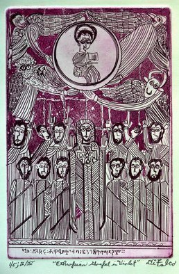 Jerry  Di Falco: 'ethiopian gospel in violet', 2018 Etching, Christian. PLEASE NOTE THAT THIS ETCHING IS SOLD WITH BOTH A FRAME, 12 by 16 inches, AND MAT.  THE BLACK PAINTED WOOD FRAME WITH GLASS INCLUDES AN ACID FREE, WHITE MAT.  THE WORK ARRIVES TO YOUR HOME WIRED AND READY TO HANG.  This original etching is based an Ethiopian manuscript illumination ...