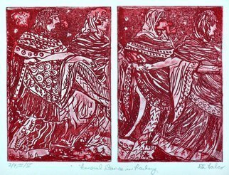 Jerry  Di Falco: 'funeral dance in rasberry', 2019 Etching, Ethereal. Artist Description: This impenetrable etching was inspired by an ancient Etruscan fresco depicting a funeral dance.  It was executed on two zinc plates, and each one required six Nitric Acid baths.  All of these hand pulled editions were printed and published by the artist at The Center for Works on ...