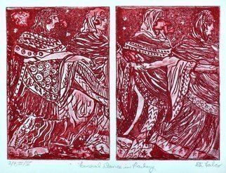 Jerry  Di Falco: 'funeral dance in rasberry', 2019 Etching, Ethereal. This impenetrable etching was inspired by an ancient Etruscan fresco depicting a funeral dance.  It was executed on two zinc plates, and each one required six Nitric Acid baths.  All of these hand pulled editions were printed and published by the artist at The Center for Works on Paper in ...