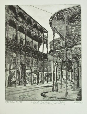 Jerry  Di Falco: 'ghosts within ink', 2017 Etching, Zeitgeist. Artist Description: FULL TITLE is Ghosts Within the Spaces of Ink or House of the Turk in New Orleans.The inspiration for this Jerry Di Falco original, hand- pulled etching originated with a 1937 photographic negative by Francis Benjamin Johnson, born in 1864 and died in 1952Benjamin was one of ...