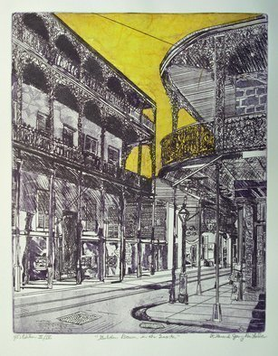 Jerry  Di Falco: 'golden dawn in the quarter', 2017 Etching, Zeitgeist. Artist Description: The inspiration for Di FalcoaEURtms original hand- pulled etching originated with a 1937 photographic negative by Francis Benjamin Johnson, who was born in 1864 and died in 1952Benjamin was one of the first US women to make a name for herself as an artist and photographer. JohnsonaEURtm...