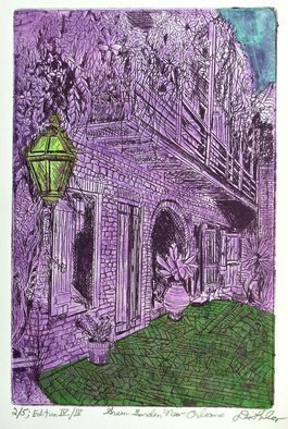 Jerry  Di Falco: 'green garden new orleans', 2017 Etching, Zeitgeist. Artist Description: My original, hand pulled etching was inspired by an photograph from the Print and Pictures Archive at The US Library of Congress in Washington DCit is stored there in The Carnegie Collection of Southern Architecture and depicts an 1890s French Quarter scene from the city of New Orleans. ...