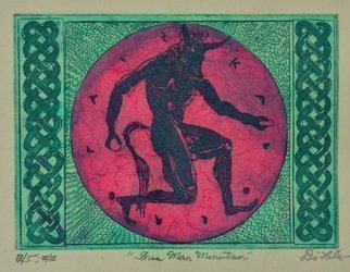 Jerry  Di Falco: 'green man minotaur', 2020 Etching, Erotic. This unique etching was inspired by the myth of the Minotaur, a beast that was half man and half bull, in Ancient Cultures. I executed this etching using a zinc plate that measured five inches high by seven inches wide, or 13 cm x 18 cm.  The print size is ...