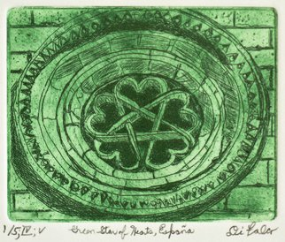 Jerry  Di Falco: 'green star of hearts Spain', 2017 Intaglio, History. Artist Description: This etching is based upon a 1987 photograph taken by the artist.  It depicts a 13th century window from a Romanesque Templar church, San BartolomeaEURtms Hermitage.  It is located in the Parque Natural del CaA+-on del rAo Lobos, Soria, Spain.  The pentagram, which is a ...