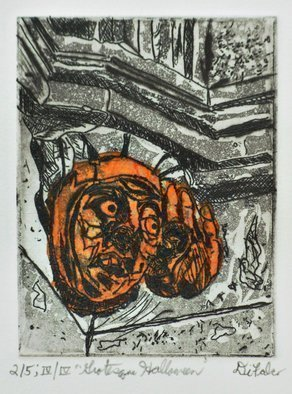 Jerry  Di Falco: 'grotesque halloween', 2019 Intaglio, Architecture. The intimate size of this DiFalco print projects a rather imposing mood.  The etching, inspired by a photo that the artist shot in 1987, was based on two of his own pencil drawings executed in 2019.  This specific print is from the LAST Edition of Four, and each edition is ...