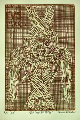 Jerry  Di Falco: 'i am seraph', 2019 Etching, Archetypal. This hand printed etching of a Seraph employs the studio techniques of intaglio.  The work pictured here is from the FIRST EDITION of FOUR, and all editions are limited to only five prints.  I executed the work on a zinc plate covered with hard ground and etched the plate twice ...