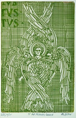 Jerry  Di Falco: 'i am seraph green', 2019 Etching, Kabbalah. This hand printed intaglio etching depicts a Seraph.  The work pictured here is from the LAST EDITION of FOUR, OR IV IV, which is limited to only five prints.  I executed the work on a zinc plate covered with hard ground and etched the plate twice in Nitric acid baths, ...