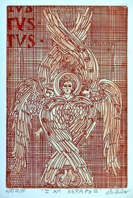 Jerry  Di Falco: 'i am seraph three', 2019 Etching, Spiritual. This hand printed etching of a Seraph employs the studio techniques of intaglio.  The work pictured here is from the THIRD EDITION of FOUR, and all editions are limited to only five prints.  I executed the work on a zinc plate covered with hard ground and etched the plate twice ...