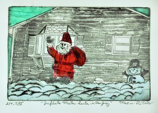 Jerry  Di Falco: 'inflate mr santa in new jersey', 2020 Etching, Holidays. NOTE THIS EDITION OF FOUR ETCHINGS.  EDITION ONE OF FIVE HAS ONLY THREE ETCHINGS REMAINING FOR SALE.  Print number 4 of 4 sold in the artist s studio on the day of printing.This original, hand printed etching that used the studio techniques of intaglio, aquatint, and dry point was ...
