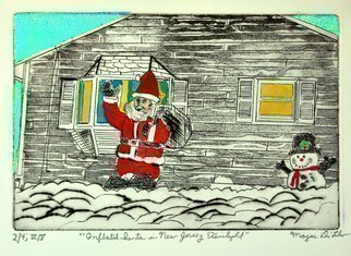 Jerry  Di Falco: 'inflate santa in nj at dusk', 2020 Etching, Cartoon. The dusk scene- - based on graphite and ink drawings by the artist of a photo he shot in New Jersey- - shows a decorated and snow covered lawn in southern New Jersey near Christmas time.  This is a combination of etching and watercolor painting.  Collage is also employed with a blue ...