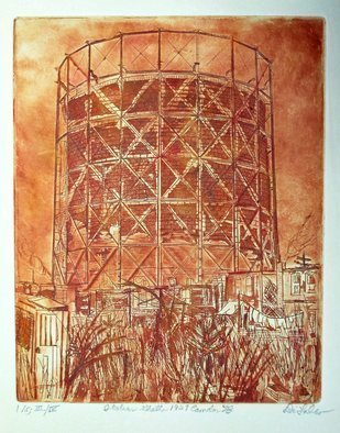 Jerry  Di Falco: 'italian ghetto 1929 camden nj', 2017 Etching, Poverty. Artist Description: THIRD Edition Etching. Oil based French inks,  printed on STONEHENGE cream colored paper. Studio techniques included intaglio, aquatint, and dry point. The wiping technique gives the work a decidedly painterly feel. Six separate baths in Nitric acid were required. The overall image size, or zinc plate size, is ...