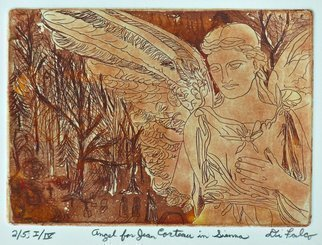 Jerry  Di Falco: 'jean cocteau angel', 2017 Etching, Death. Title is ANGEL FOR JEAN COCTEAU IN SIENNA.  This intaglio and aquatint etching by DiFalco is based on one of his many photos taken in PhiladelphiaaEURtms Laurel Hill cemetery.  The zinc etching plate underwent three workings and three baths in Nitric acid.  The plate size was five inches high ...