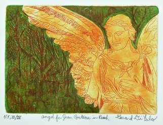 Jerry  Di Falco: 'jean cocteau angel peach', 2017 Etching, Spiritual. This intaglio and aquatint etching with Chine colle color overlays by DiFalco is based on one of his many photos taken in PhiladelphiaaEURtms Laurel Hill Victorian era cemetery over the past three decades.  The zinc plate underwent three workings and baths in Nitric acid.  The plate size was five ...