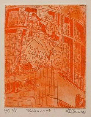 Jerry  Di Falco: 'kabarett', 2018 Intaglio, Theater. Artist Description: The artist employed several studio techniques in this etching, including aquatint, intaglio, and drypoint. It is entitled aEURoeKABARETTaEUR and belongs to Di FalcoaEURtms TEARS FOR BERLIN series, which is a collection devoted to The German Cabaret Art Movement from 1917 to 1933. It was executed on a ...