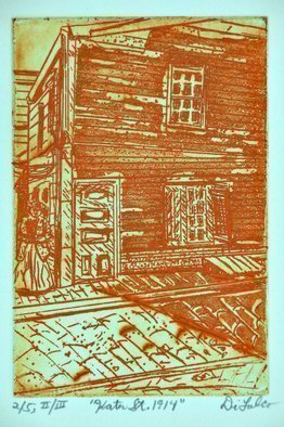 Jerry  Di Falco: 'kater street', 2019 Intaglio, Cityscape. Title is KATER STREET, 1914.  This sceneaEUR