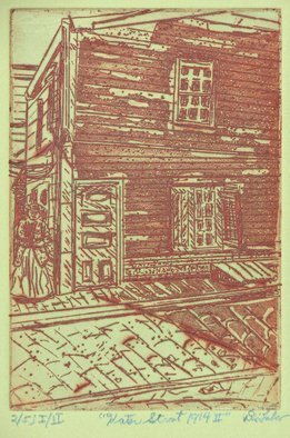 Jerry  Di Falco: 'kater street 1914', 2019 Etching, Representational. This sceneaEUR