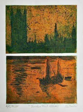 Jerry  Di Falco: 'london 1890mist three', 2018 Etching, Boating. PLEASE NOTE THAT THIS ETCHING IS SOLD WITH BOTH A FRAME AND MAT.  THE BLACK WOOD FRAME INCLUDES AN ACID FREE, WHITE MAT.  This is Edition Three of Four, Print Number 2 of 5.  I employed two zinc plates to create this one printed image, and the etching plates required ...