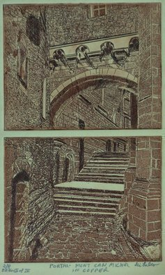 Jerry  Di Falco: 'mont san michel in copper', 2020 Etching, Architecture. This two plate etching is from the third of four editions.  It depicts a portal in the French castle at Mont San Michele.  Oil base ink on etching paper.  Etched in nitric acid.  Price includes mat and frame.  Shipment costs are added. ...