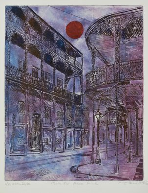 Jerry  Di Falco: 'moon for anne rice', 2017 Etching, Cityscape. Di FalcoaEURtms original etching was inspired by a 1937 photograph by Francis Benjamin Johnson, born in 1864 and died in 1952, one of the first US women to gain success as a photographer.  JohnsonaEURtms original negative is catalogued in the US Library of Congress, in Washington DC.  It ...