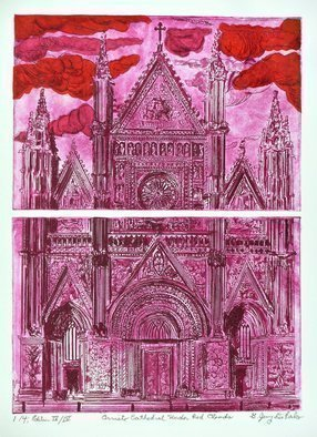 Jerry  Di Falco: 'orvieto under red clouds', 2017 Etching, Culture. Artist Description: PRICE INCLUDES GLASS WOOD FRAMEBLACK , ARCHIVAL MAT, WRAPPING, SHIPMENT BOX BUT NOT SHIPMENT COSTS. This extremely intimate LAST edition is limited to only FOUR original etchings. This diptych vertical etching is executed on two zinc plates, each measuring six inches high by nine inches wide, or 15. 240cm ...