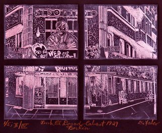 Jerry  Di Falco: 'pink dorado cabaret berlin', 2017 Etching, History. Artist Description: TITLE- THE PINK EL DORADO CABARET, BERLIN 1929. This work is the SECOND etching in Di FalcoaEURtms CABARET series entitled, aEURoeTears for BerlinaEUR. It is the SECOND Edition of FOURand, each edition has only five hand printed etchings. A photo from Das BUNDESARCHIV, a German photographic archive, ...
