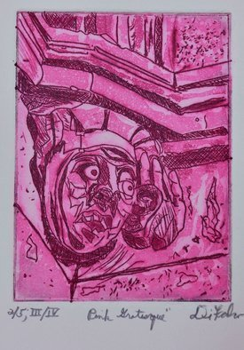 Jerry  Di Falco: 'pink grotesque', 2019 Etching, Archetypal. The intimate size of this etching by Di Falco projects a rather imposing mood.  The etching, inspired by a photo that the artist shot in 1987, was based on two of his own pencil drawings.  This specific print is from the Second Edition of Four, and each edition is limited ...