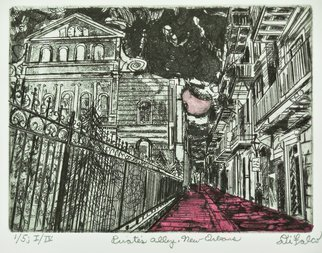 Jerry  Di Falco: 'pirates alley in new orleans', 2017 Intaglio, Magical. Artist Description: Full Title is PIRATE S ALLEY IN NEW ORLEANS The inspiration for this Jerry Di Falco original, hand pulled etching originated with one of the artistaEURtms own photographs taken with Kodak black and white film on his Minolta 35mm camera. Di FalcoaEURtms etching features PirateaEURtms ...