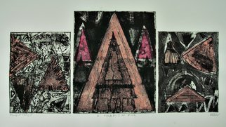 Jerry  Di Falco: 'pyramid in pink', 2018 Etching, Abstract. THIS LARGE THREE PLATE ETCHING IS SOLD WITHOUT A FRAME OR MAT.  This combined abstract monoprint and etching was created at The Center for Works on Paper in Philadelphia, Pennsylvania within THE OPEN PRINTMAKING STUDIO on The Fleischer Art campus.  Media includes oil base etching ink, Rives BFK etching paper, ...