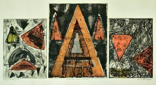 Jerry  Di Falco: 'pyramids in sunlight', 2018 Etching, Abstract. NOTE THAT THIS TRIPLE ZINC PLATE ETCHING IS SOLD WITHOUT FRAME OR MAT.  This combined abstract monoprint and etching was created at The Center for Works on Paper in Philadelphia, Pennsylvania within THE OPEN PRINTMAKING STUDIO on The Fleischer Art campus.  Media includes oil base etching ink, Stonehenge cream colored ...