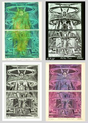 Jerry  Di Falco: 'quartet metropolis', 2017 Etching, Technology. Artist Description: THIS IS HOW ALL FOUR EDITIONS OF THE METROPOLIS SERIES LOOK HUNG TWO ABOVE TWO. Buy all four etchings for a 100 dollar discount. Each etching framed in a Black, wood frame. Size below is with a two inch space between the four frames. ...