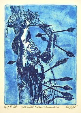 Jerry  Di Falco: 'saint sebastian in blue', 2019 Etching, Movies. THIRD EDITION.  Saint Sebastian is one of the most portrayed saints in art history.  This etchingaEUR