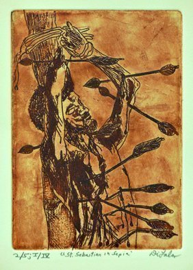 Jerry  Di Falco: 'saint sebastian in sepia', 2019 Etching, Erotic. Saint Sebastian is one of the most portrayed saints.  This etchingaEUR