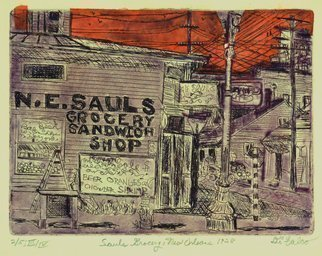 Jerry  Di Falco: 'sauls grocery 1928', 2019 Etching, Americana. ETCHING.  Chine colle, intaglio, drypoint and aquatint.  Framed work is 11 inches by 14 inches wide.  This zinc plate etching required three separate Nitric acid baths and plate workings.  The image size of theplate was six inches high by eight inches wide.  The frame is 11 by 14 inches.THIS ...
